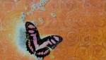 Butterfly on orange wall dripping blue beads