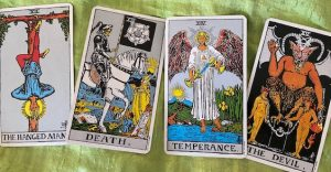 Rider Waite Smith Hanged One, Death, Temperance, and Devil Tarot Cards