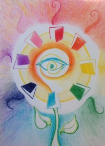 eye at the heart of sun with rainbow sunrise surrounded by open doors or are they books, the sun stemmed and leaved
