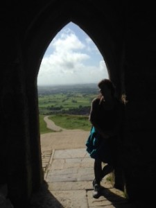 Tania at Glastonbury Tor