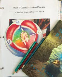 heart's compass with candle flame, book cover Heart's Compass Tarot and Writing
