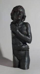 Sandy Frank sculpture woman side sheer hosting poem The Painter's Wife by Tania Pryputniewicz