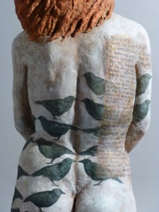 Sandy Frank sculpture red haired woman black birds and poem Someone by Tania Pryputniewicz