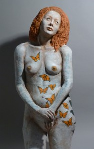 Sandy Frank sculpture red haired woman monarchs across body